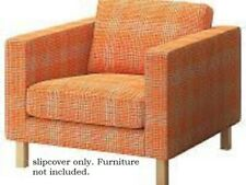 Ikea Karlstad Chair Slipcover,cover  Husie Orange Plaid, Cotton 902.546.86