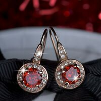 18k rose gold made with SWAROVSKI crystal red stud hook earrings drop dangle