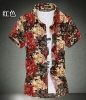 Summer Men's Tops Big Size Slim Short Sleeve Shirts Print Cotton Casual Shirts