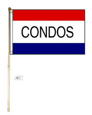 5' Wood Flag Pole Kit Wall Mount Bracket 3x5 Condos Red White Blue Poly Flag
