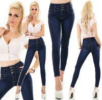 High Waist Jeans Hose Röhrenjeans Skinny Slim Fit Corsage Look Stretch XS-XL