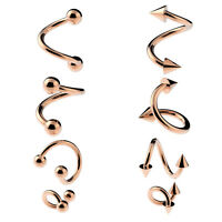 SPIRAL Twist Belly Bar Helix Tragus Piercing Eyebrow ROSE GOLD Balls or Cones