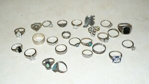 JUNK DRAWER LOT VINTAGE OF 25 STERLING SILVER RINGS TURQUOISE