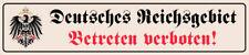 Deutsches Reichsgebiet Straßenschild SchildTin Street Sign 10 x 46 cm SM0978