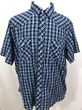 Wranger Western Shirts Mens Vintage Short Sleeve Pearl Snap Shirt XL Blue Plaid