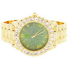 Men's Solitaire Bezel Techno Pave Green Roman Dial Automatic Movement Watch
