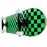 PRO Skateboard Complete Pre-Built CHECKER PATTERN Black/Green 7.75""