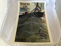 UNION OIL COMPANY BOAT FISHERMAN POSTER VINTAGE BULLETIN COVER 1923 24 X 17