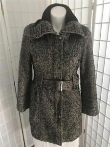 Women's Calvin Klein 12 Deep Black Tan Tweed Wool Blend Zip Up Winter Overcoat