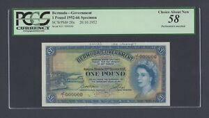 Bermuda One Pound 20-10-1952 P20as Specimen About Uncirculated