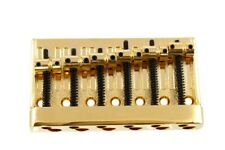"NEW - 6-String Heavy-Duty Bass Bridge, 3-1/8"", GOLD"