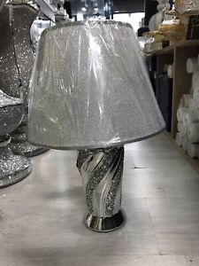 Crushed Diamond Silver LED Bling Table Lamp With Shade Glitter Romany Sparkly