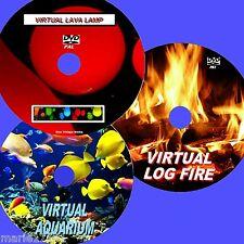 VIRTUAL FISH TANK LOG FIRE & LAVA LAMP 3 RELAXING DVDs FOR FLAT SCREEN TV NEW