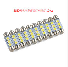 10 X White 36MM 3 LED 5050 SMD Festoon Dome Car Light Interior Lamp Bulb 12V F9