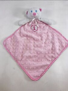 Pink White Bear 1 Heart Minky Satin Security Blanket Lovey Amscan Blue Eyes