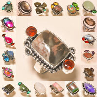 Free Shipping Natural Mix Lot 925 Silver Gemstone Jewelry Ring Wow !!