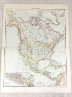1898 Antik Map Of North America Kanada United States 19th Century Viktorianisch