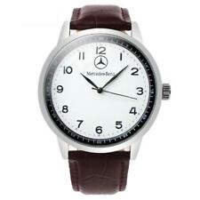 Mercedes Benz Mens Stainless Steel WHITE Dial BROWN Leather Strap Sport Watch