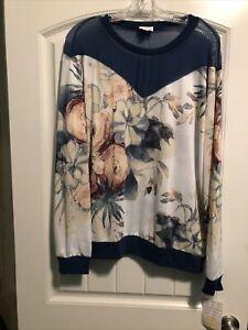 Lularoe 3XL Blue Floral New Lizzy Mesh Top Slinky Shirt