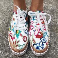 Damen Flache Loafers Schnürung Canvas Sneakers Slipper Freizeit Halbschuhe 35-43