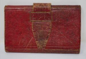Antique Victorian Civil War Era Moroccan Red Leather Wallet & Notebook