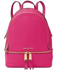 NWT Michael Kors Rhea Pebble Leather Medium Backpack Zip Bag $298 Ultra Pink