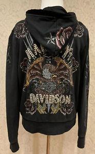Harley Davidson Womens Eagle & Daggar Zip Front Hoodie Sweatshirt, Small