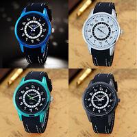 Luxury Men Sport Watches Silicone Band Stainless Steel Analog Quartz Wrist Watch