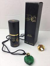 TOVA Nights Eau De Perfume 1 Ounce Can and Green Glass Perfume Heart Necklace