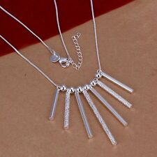 925 Sterling Silver 7-Solid Stick + 6 bead Pendant + 18 inch Chain Necklace Q138