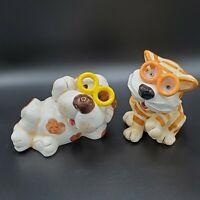 Set of 2 Dog & Cat Wearing Glasses Coin Money Piggy Bank Kids Decor Ceramic