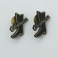Oklahoma Cowboy Boot Vintage Lapel Pin -  Sooner His and Hers 2pc LOT Souvenirs