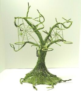 Pottery Barn Halloween GREEN Spooky Metal Wire Tree Votive Candle Holder