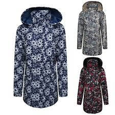 Ladies Floral Print Waterproof Summer Rain mac Kagoul Zipped Lightweight Jacket