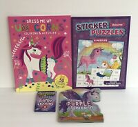 4pc Unicorn Gift Set Board Book Sticker Puzzle & By Number Books Glitter Crayons