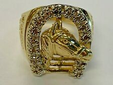 14K SOLID YELLOW GOLD  DIAMOND HORSESHOE MENS RING WWWXX