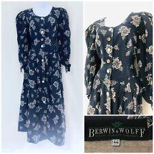 Authentic Vintage Dress Size 14 16 1900s Victorian Style Dirndl Linen Floral