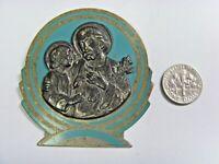 antique catholic scarce Saint Joseph baby Jesus relic icon pocket shrine 50735