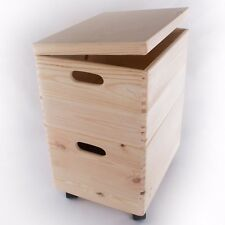 XLarge 2 Wooden Stackable Storage Crates/Boxes With Hinged Lid/Handles & Wheels