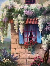 """Wisteria Wall Floral Hand Painted 8""""x10"""" Oil Painting Unstretched Canvas Art"""