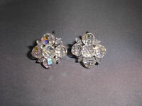VTG Clear AB Demi Parure Crystal Silver Toned Cluster Clip Earrings ~ 9 Filigree