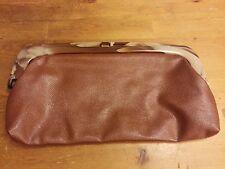 Medium Brown, PVC, with Marbled Resin Handle, Clutch Handbag