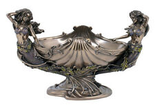 Twin Mermaids & Shell Tray Bowl Nautical Statue Sculpture Figure