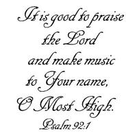 Praise the Lord, make music.. unmounted rubber stamp, Christian bible verse #6