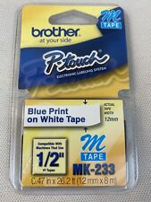 Brother P Touch M Tape Blue Ink On White Tape Mk 233 12 New Sealed Bin 1