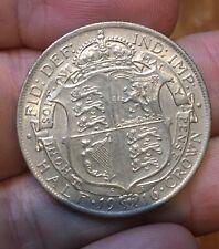 1916 HALF CROWN - GEORGE V BRITISH .925 SILVER COIN - SUPERB
