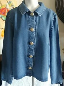 Vintage Double D Ranch Womens Button Down Denim Blue Tencel Jacket Sz M