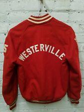 Vintage Original Red Letterman Varsity Jacket Size 34 Westerville Cat Knapp '75