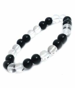 Crystal & Onyx 8 mm Gemstone Beads For Men & Women Bracelet Size 6 Inches