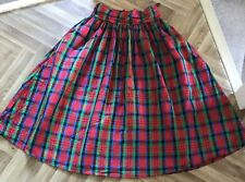 Vintage Skirt 1980's Party Red/blue/green Plaid Check Full Gathered Stunning 10
